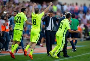 Munir celebrando la liga en el Calderón