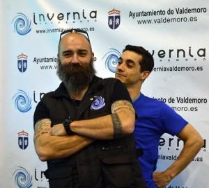 Javier Fernández y David Sánchez, gerente de la pista de Invernia Valdemoro.