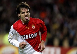 MONACO, Monaco: Monaco's Spanish forward Fernando Morientes pulls his tongue out during his Champions League semi-final first-leg football match against Chelsea, 20 April 2004 at the Louis II stadium in Monaco. AFP PHOTO PASCAL GUYOT (Photo credit should read PASCAL GUYOT/AFP/Getty Images)