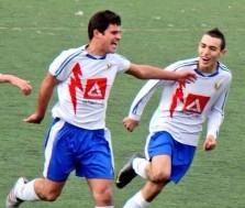 Borja y Munir, celebrando un gol en el Rayo Majadahonda