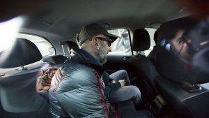 Ernesto Colman, en un coche policial