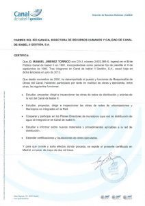 Carta de recomendación del Canal a Torrico