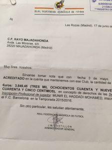 Carta de la RFEF con el pago del FC Barcelona