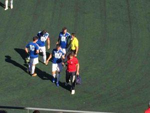 Un jugador del Rayo Majadahonda se retira lesionado