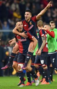 Genoa's Lucas Ocampos carries his teammate Giovanni Simeone on his shoulders to celebrate the victory at the end of the Italian Serie A soccer match Genoa CFC vs Juventus FC at Luigi Ferraris stadium in Genoa, Italy, 27 November 2016. ANSA/SIMONE ARVEDA