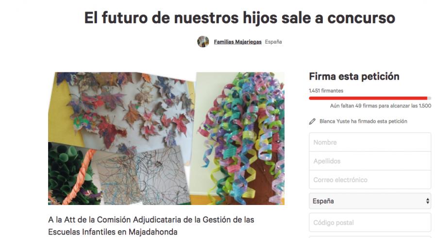 """""""Familias Majariegas"""" alcanza 1.500 firmas para que puntúe el arraigo y la calidad en el concurso de escuelas infantiles"""
