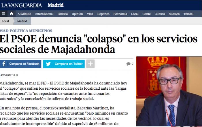"""El PSOE denuncia """"colapso"""" en los servicios sociales de Majadahonda"""