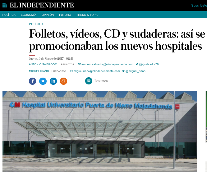 """El Independiente"" revela que el Hospital Puerta de Hierro Majadahonda también contrató a Over Marketing"
