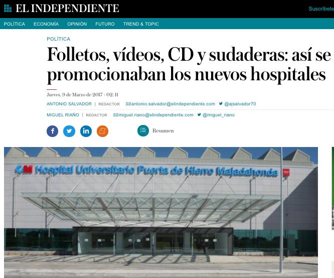 """""""El Independiente"""" revela que el Hospital Puerta de Hierro Majadahonda también contrató a Over Marketing"""