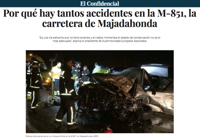La M-851 Majadahonda registra ya 11 accidentes por exceso de velocidad y distracción