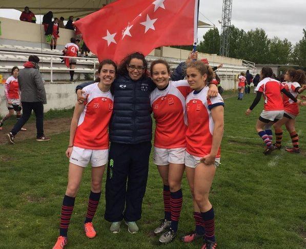 Rugby: Teresa, Eva, Bola y Blanca Domínguez (CR Majadahonda), subcampeonas de España con Madrid