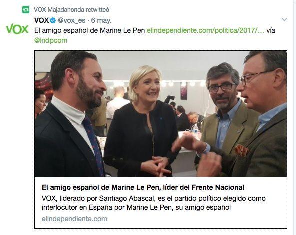 """Vox Majadahonda se asocia a Le Pen y vincula autonomías con """"despilfarro y corrupción"""""""