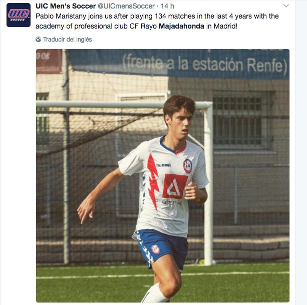 """Los """"Flames"""" de Chicago anuncian el """"fichaje"""" del juvenil Pablo Maristany (Rayo Majadahonda)"""