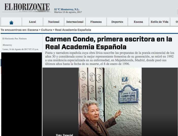 Una escritora 110: México conmemora el aniversario de Carmen Conde fallecida en Majadahonda