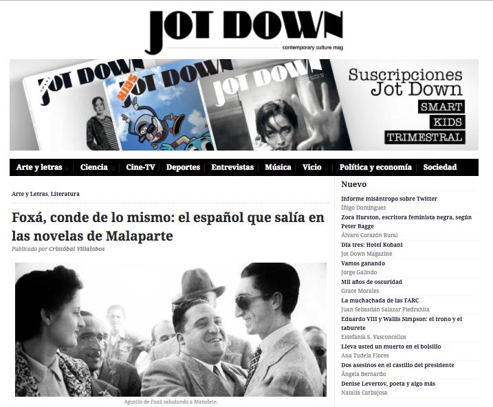 """Agustín de Foxá: La apasionante biografía de Cristóbal Villalobos en la revista """"Jot Down"""""""