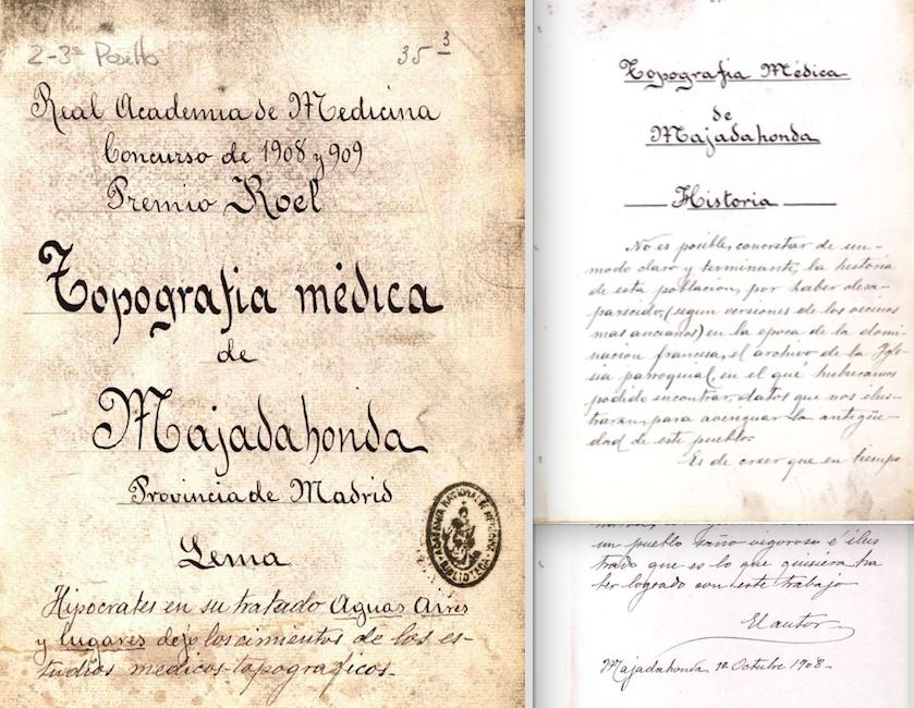 """La Academia de Medicina descubre el manuscrito de una """"Historia de Majadahonda"""" de 1908"""