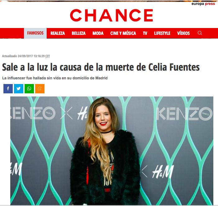"""Celia Fuentes, la más famosa """"influencer"""" de Majadahonda, muere a la edad de Larra y en sus mismas circunstancias"""