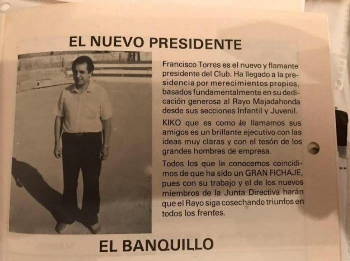 Leyendas del Rayo Majadahonda: el presidente Francisco Torres visto por su hija con fotografías inéditas