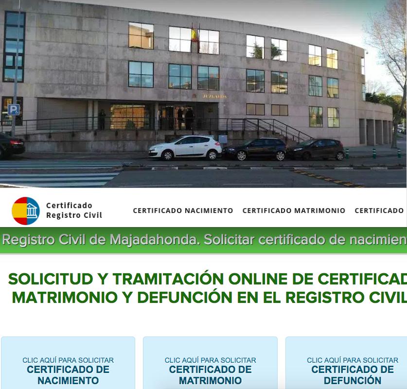 """""""Legal Today"""" denuncia la web """"Registro Civil de Majadahonda"""" por cobrar certificados gratuitos"""