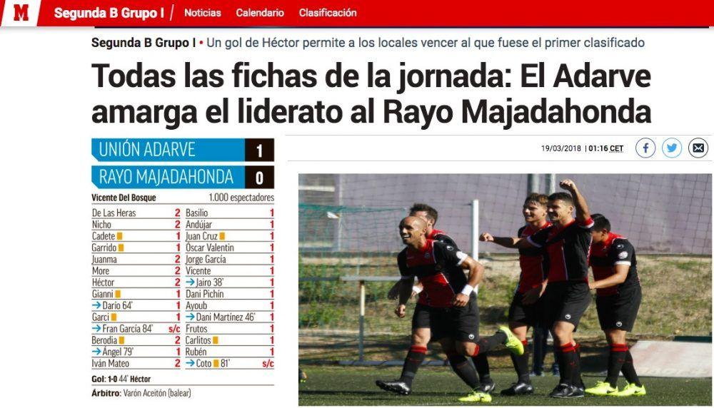 Calendario Segunda B Grupo 1.Rayo Majadahonda Pierde El 1º Ante Adarve Pero Se Aferra Al Co