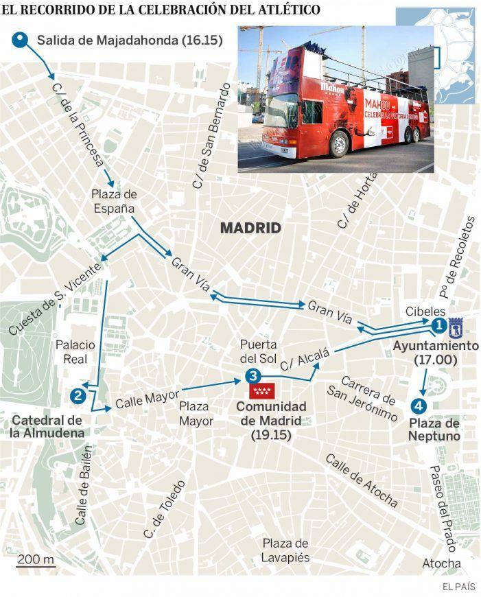 At. Madrid elige Majadahonda para salir en autobús con la Copa por el Monte del Pilar