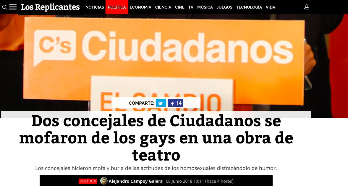 """Los Replicantes"" reclaman a Cs Majadahonda que obligue a sus 2 concejales homófobos a pedir perdón"
