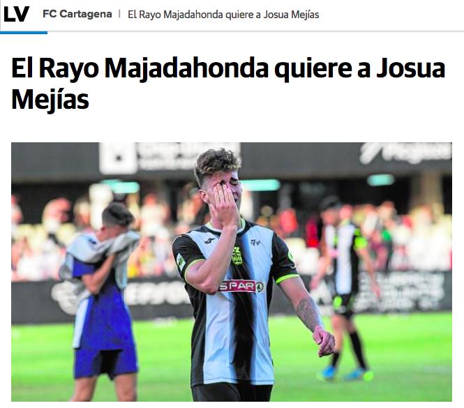 Rayo Majadahonda negocia con FC Cartagena para fichar a Josua Mejías cedido por el Leganés