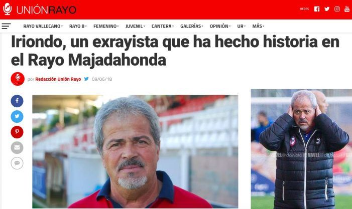 "Rayo Vallecano recuerda a Iriondo como entrenador de 1ª División: ""Ha hecho Historia en Majadahonda"""