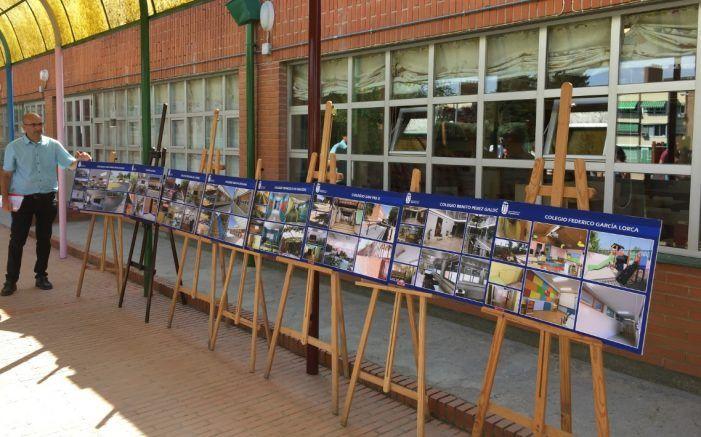 El Ayuntamiento exhibe al Colegio Antonio Machado (Majadahonda) como ejemplo de sus obras de mejora: los paneles de los 8 centros escolares