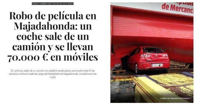 La prensa nacional acude a MJD Magazin por su cobertura del robo a Media Markt Majadahonda: 42.000 visitas en 1 día