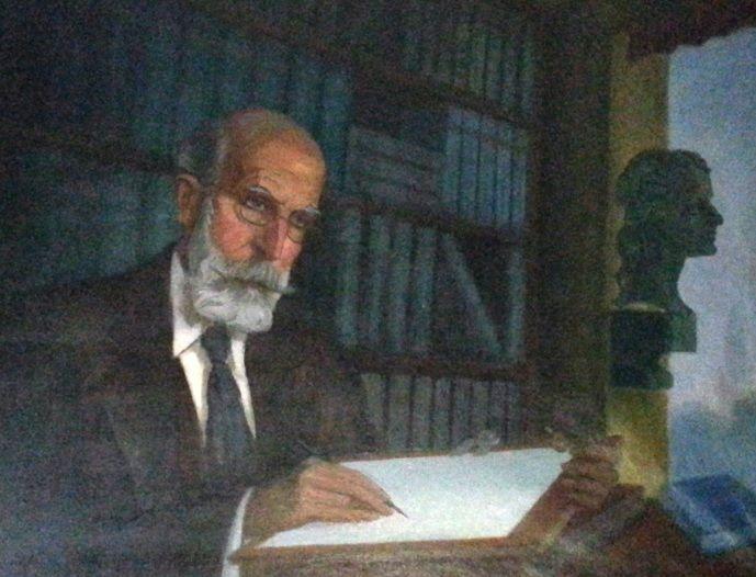 """La hija del pintor húngaro Tausz expone en Asturias el retrato de Menéndez Pidal """"colgado"""" en Majadahonda"""