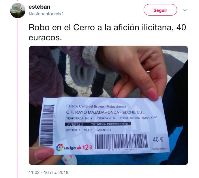 Aficiones Rayo Majadahonda y Elche: quejas por la escasa asistencia al Cerro y el precio de las entradas (40€)