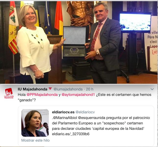 """IU Majadahonda: el Premio del Ayuntamiento en Bélgica costó 3.000 € con """"sospecha de corrupción"""""""
