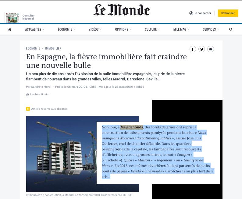 """""""Le Monde"""" pone a Majadahonda y Pozuelo de ejemplo: reactivación inmobiliaria en España"""