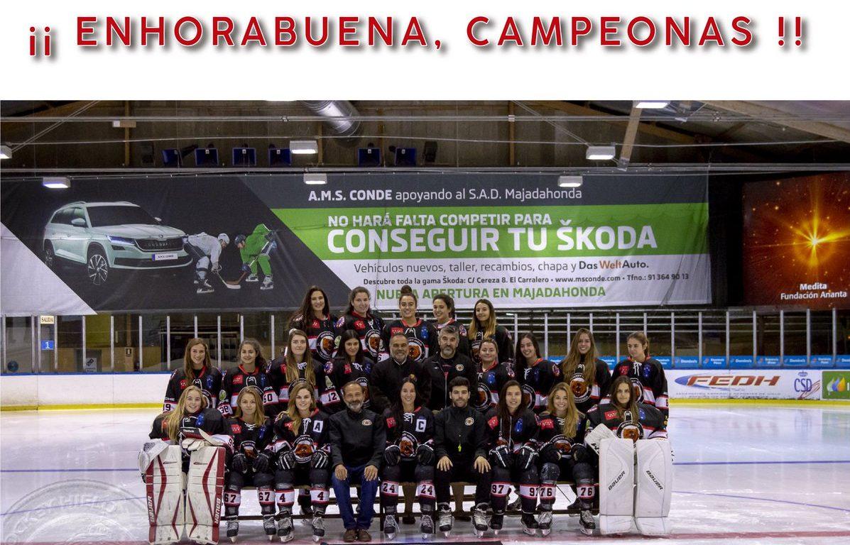 Hockey Hielo Majadahonda femenino campeona de la liga 2019: golea 6-0 al Txuri Urdin