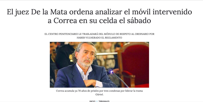 """Trasladan a Correa del """"modulo de respeto"""" al de los presos comunes al pillarle un móvil: sus """"negocios"""" con PP Majadahonda"""