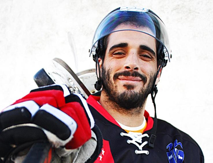 """""""Estrellas"""" del Hockey Hielo Majadahonda ante la Final Four 2019 en Jaca: Nacho Vicente, Luis Hernández, Alfonso García y FJ Navarro"""