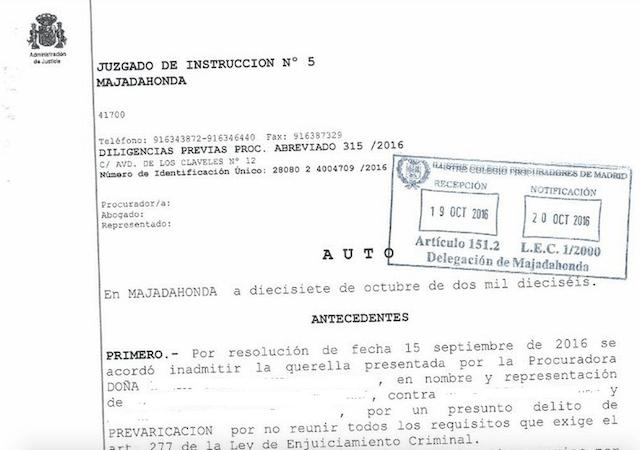 "El juzgado nº 5 de Majadahonda estrecha el cerco a Villar por el ""caso Recre"""
