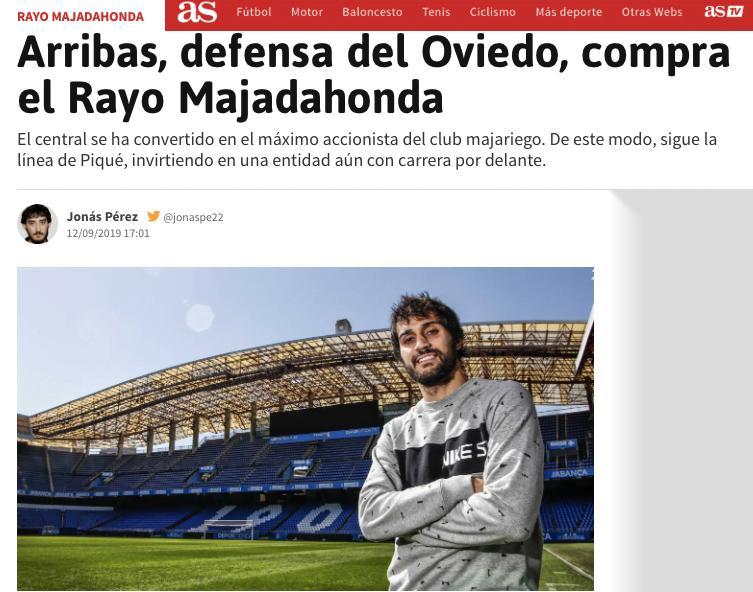 Toda la prensa nacional recoge con elogios la inversión del futbolista Arribas en el Rayo Majadahonda