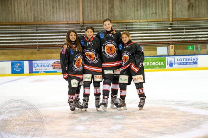 Hockey Hielo: cuatro jugadoras sub 14 del SAD Majadahonda en la victoria ante el Kosner de Navarra (16-4)