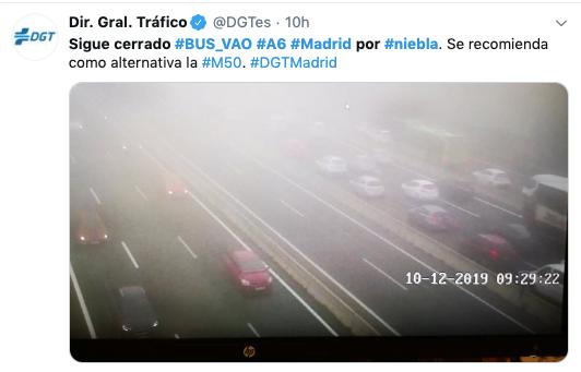 Falla la DGT en comunicación tras cerrar el Bus Vao en la A-6 Oeste Madrid por la niebla