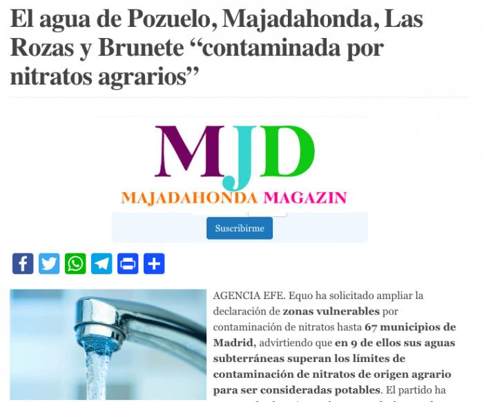 Canal de Isabel II pide censurar la noticia sobre contaminación del agua en Pozuelo, Majadahonda, Las Rozas y Brunete