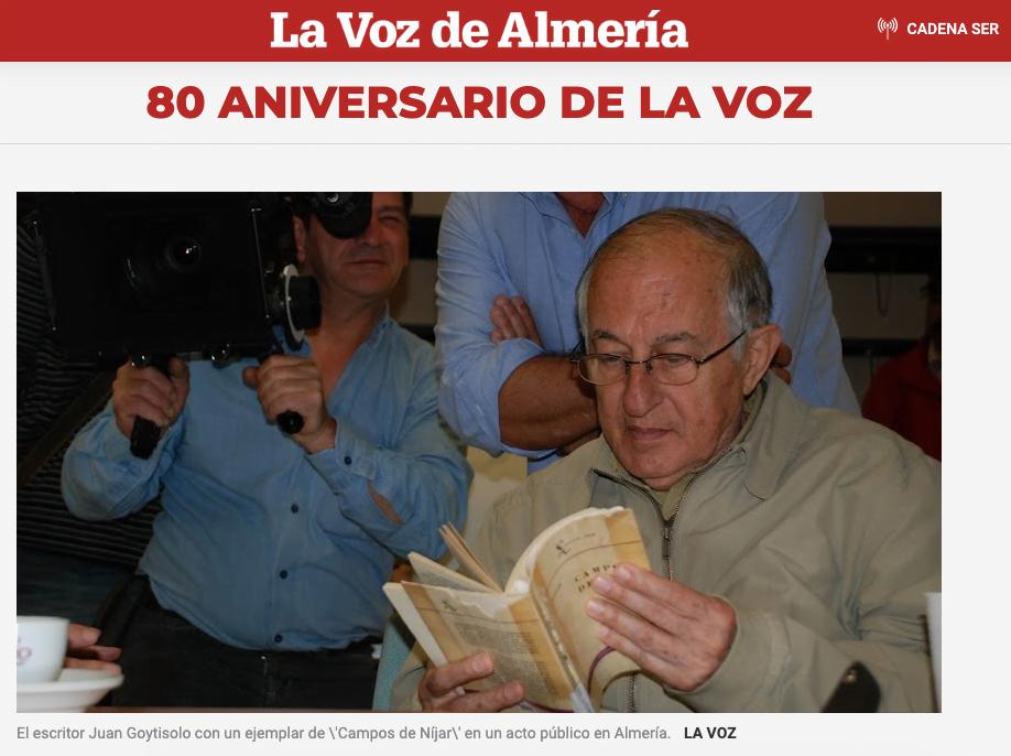 2019: El 80º aniversario de La Voz de Almería, Juan Goytisolo y sus palabras sobre Federico Utrera
