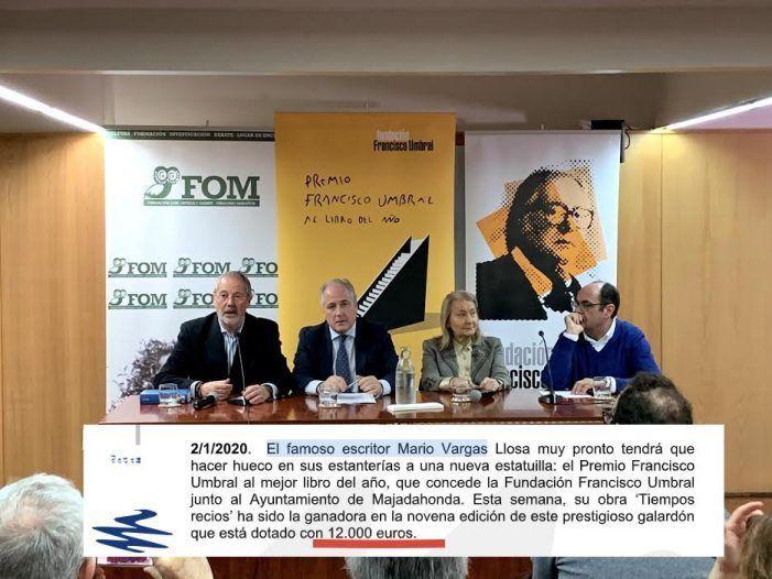 """Ayuntamiento de Majadahonda: Vargas Llosa recibirá 12.000 € del Premio Umbral por """"superar los límites de nuestra localidad"""""""