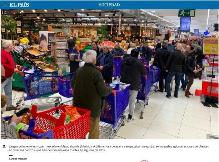 """Caos en los clientes de los """"súper"""" (Majadahonda) y empleados ejemplares: pánico y desabastecimiento"""
