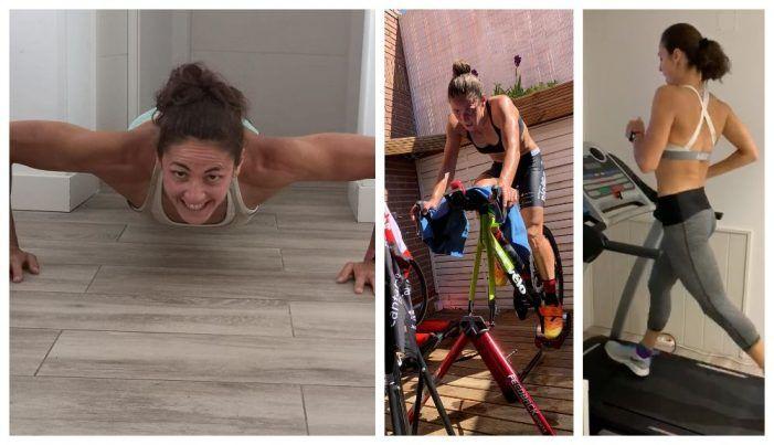 """La triatleta Sara Pérez (Majadahonda) abre su casa para enseñar un entrenamiento """"a puerta cerrada"""""""
