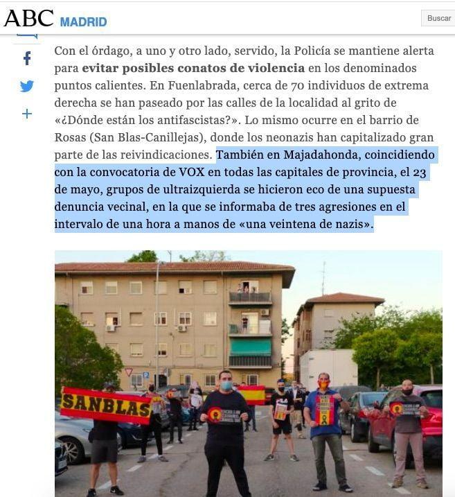 """El diario ABC relaciona las """"concentraciones"""" de Vox en Majadahonda con """"agresiones fascistas"""""""