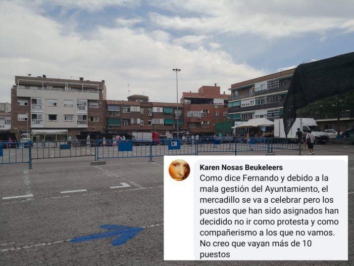 """Fracasa la inauguración del Mercadillo de Majadahonda tras la protesta por """"mala gestión"""" municipal"""