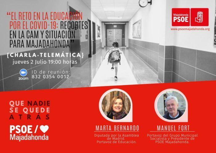 Charla-debate del PSOE por Zoom desde Majadahonda: reducción de plazas en el Da Vinci, San Pío y Margarita Salas
