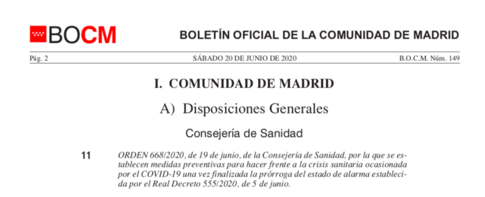 La última orden de la Comunidad de Madrid que regula toda la economía y actividad social durante este verano 2020: las 43 páginas en PDF